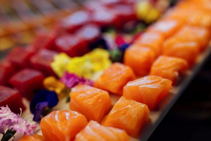 Tacos de salmón para celebración de eventos