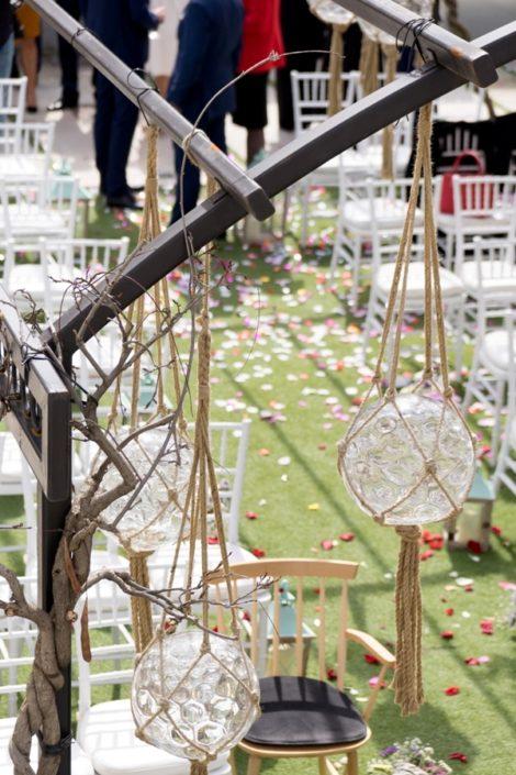 Detalles y decoración para celebración de boda